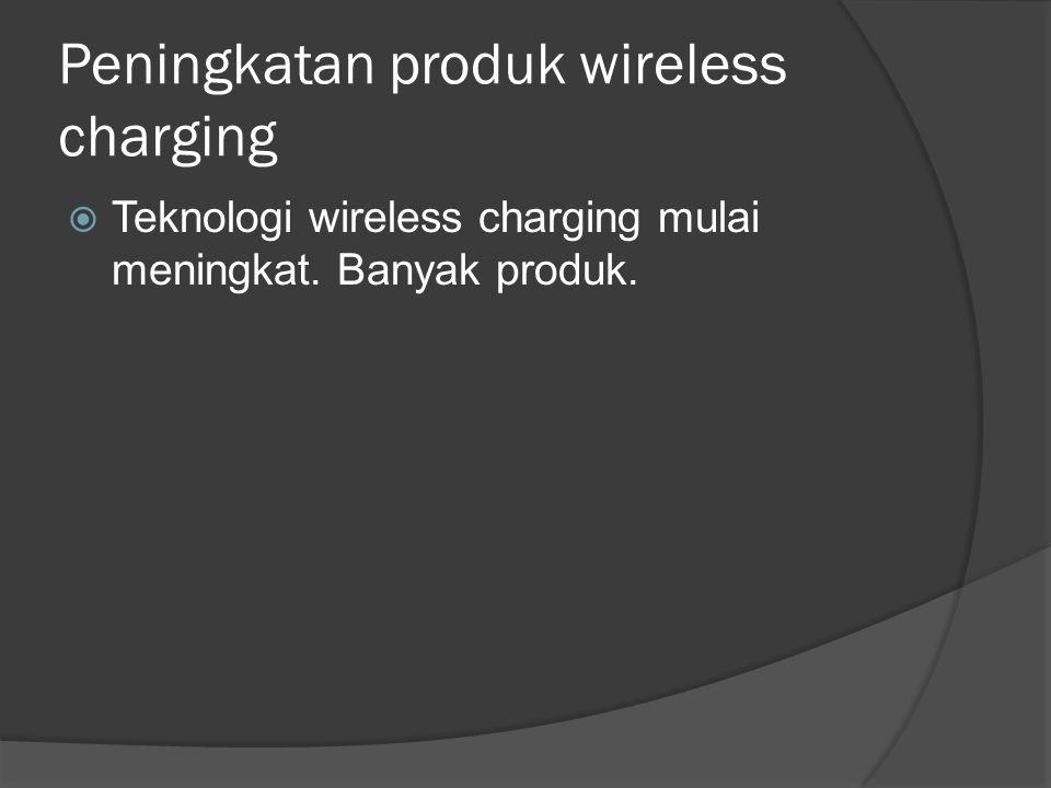 Peningkatan produk wireless charging  Teknologi wireless charging mulai meningkat. Banyak produk.