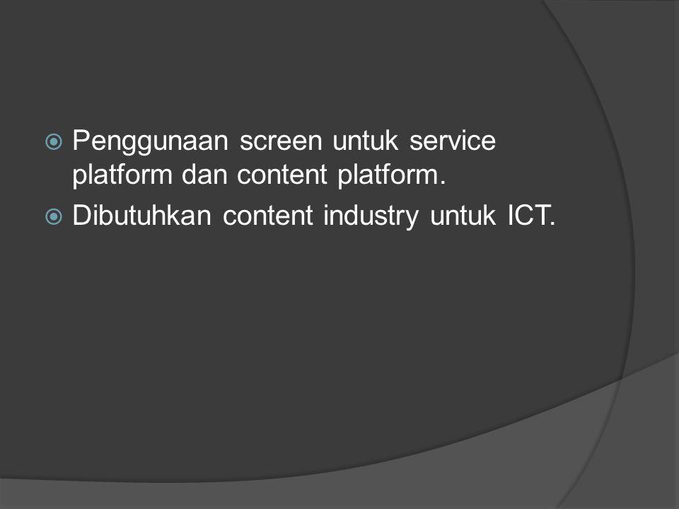  Penggunaan screen untuk service platform dan content platform.