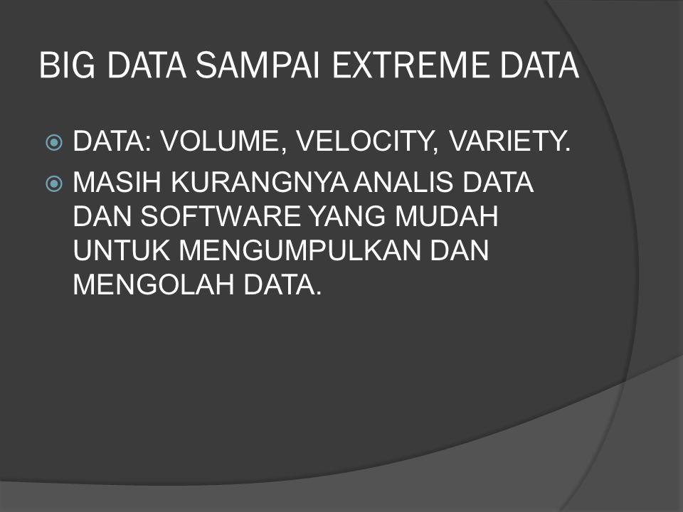 BIG DATA SAMPAI EXTREME DATA  DATA: VOLUME, VELOCITY, VARIETY.