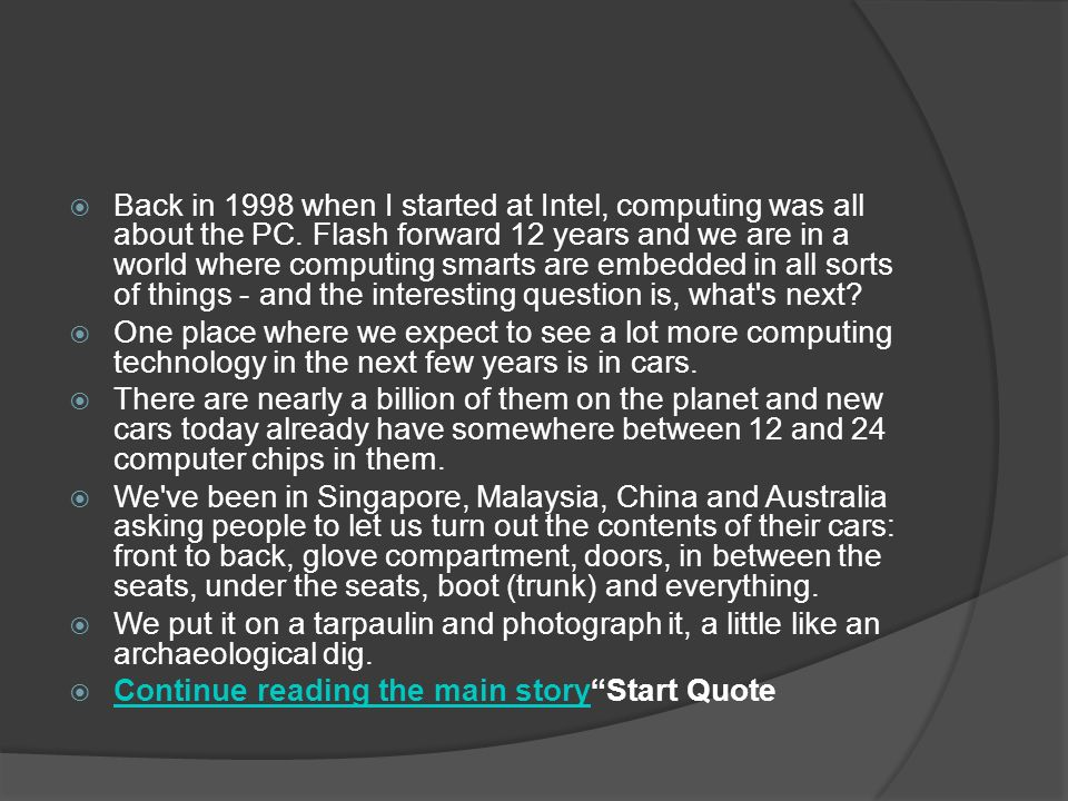  Back in 1998 when I started at Intel, computing was all about the PC.