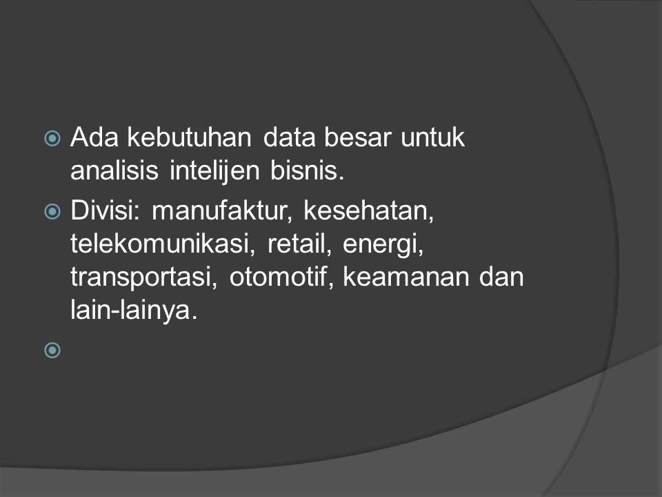  Ada kebutuhan data besar untuk analisis intelijen bisnis.