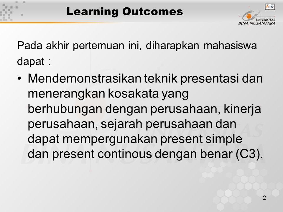 2 Learning Outcomes Pada akhir pertemuan ini, diharapkan mahasiswa dapat : Mendemonstrasikan teknik presentasi dan menerangkan kosakata yang berhubung