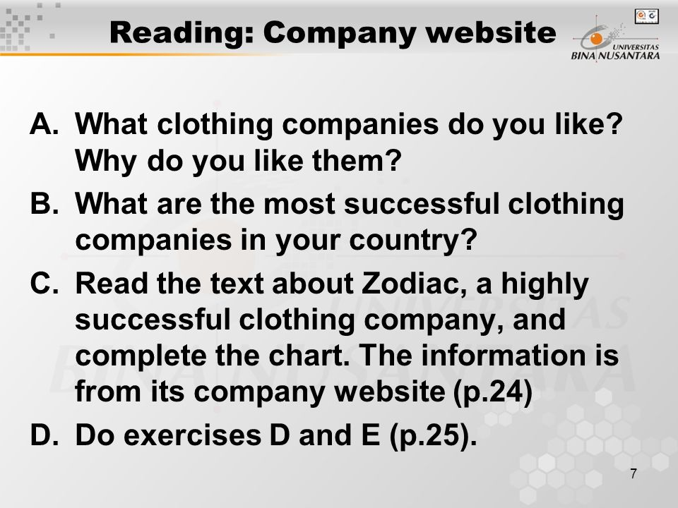 7 Reading: Company website A.What clothing companies do you like.