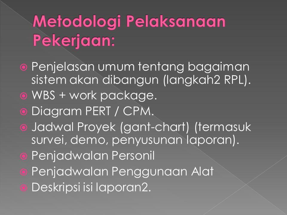 Penjelasan umum tentang bagaiman sistem akan dibangun (langkah2 RPL).  WBS + work package.  Diagram PERT / CPM.  Jadwal Proyek (gant-chart) (term