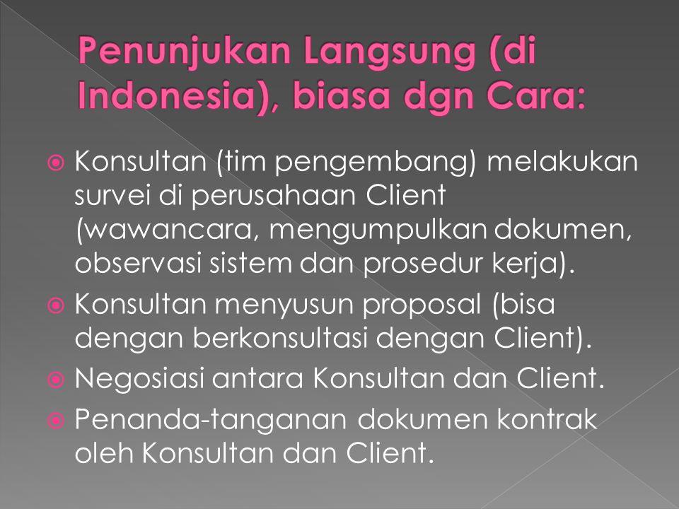  Konsultan (tim pengembang) melakukan survei di perusahaan Client (wawancara, mengumpulkan dokumen, observasi sistem dan prosedur kerja).  Konsultan