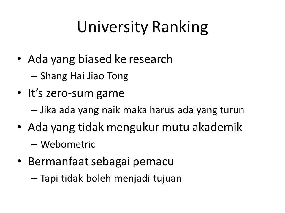 University Ranking Ada yang biased ke research – Shang Hai Jiao Tong It's zero-sum game – Jika ada yang naik maka harus ada yang turun Ada yang tidak mengukur mutu akademik – Webometric Bermanfaat sebagai pemacu – Tapi tidak boleh menjadi tujuan