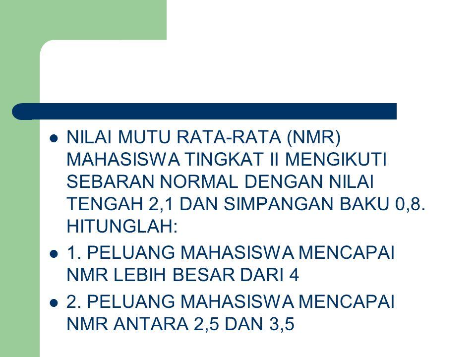 NILAI MUTU RATA-RATA (NMR) MAHASISWA TINGKAT II MENGIKUTI SEBARAN NORMAL DENGAN NILAI TENGAH 2,1 DAN SIMPANGAN BAKU 0,8. HITUNGLAH: 1. PELUANG MAHASIS