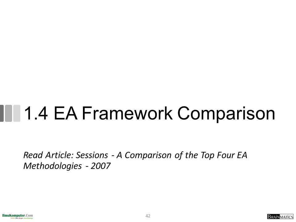 1.4 EA Framework Comparison Read Article: Sessions - A Comparison of the Top Four EA Methodologies - 2007 42