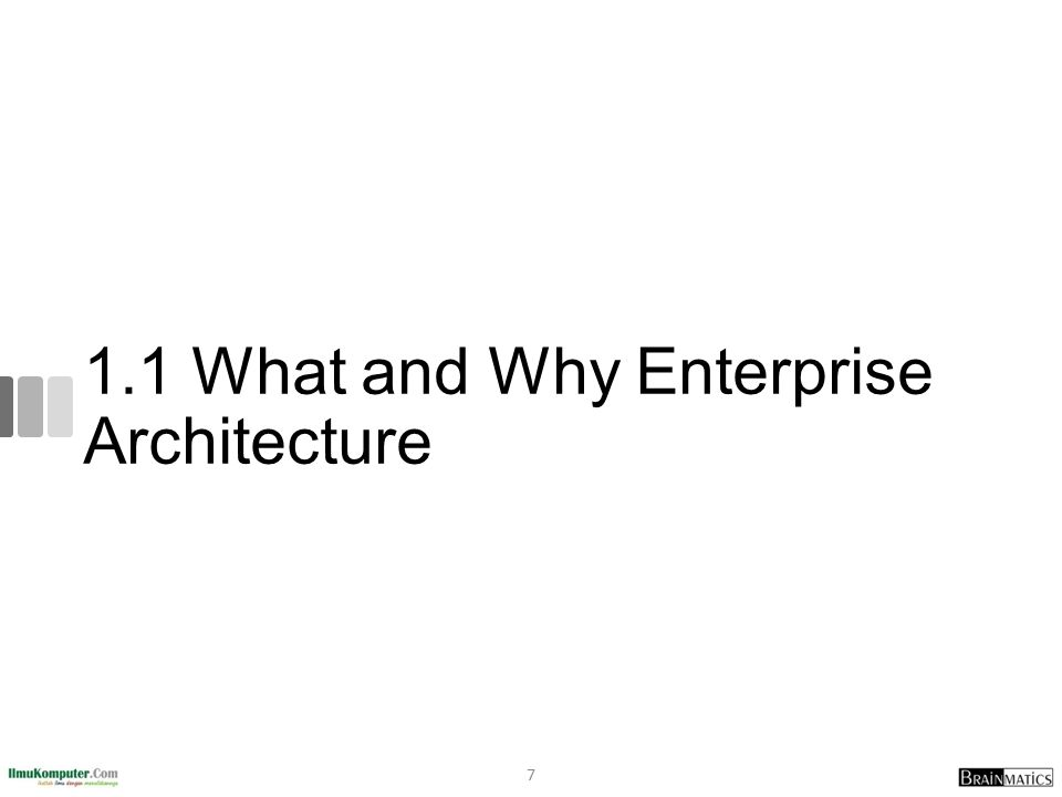 1.1 What and Why Enterprise Architecture 7