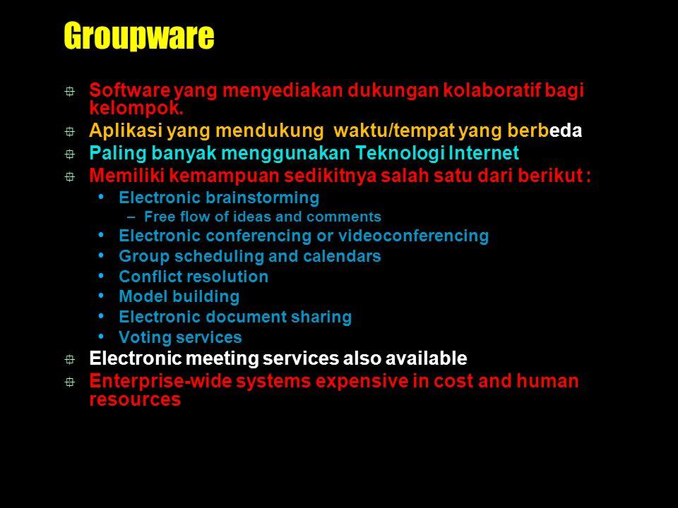 Groupware  Software yang menyediakan dukungan kolaboratif bagi kelompok.  Aplikasi yang mendukung waktu/tempat yang berbeda  Paling banyak mengguna