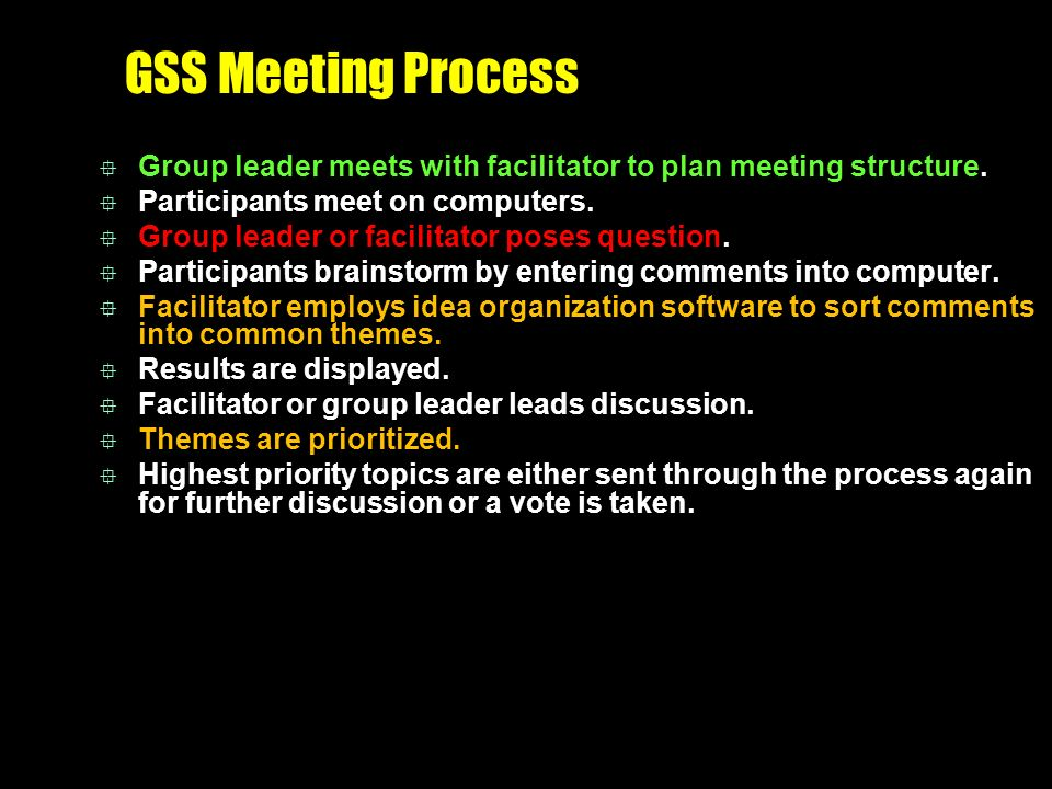 GSS Meeting Process  Group leader meets with facilitator to plan meeting structure.  Participants meet on computers.  Group leader or facilitator p