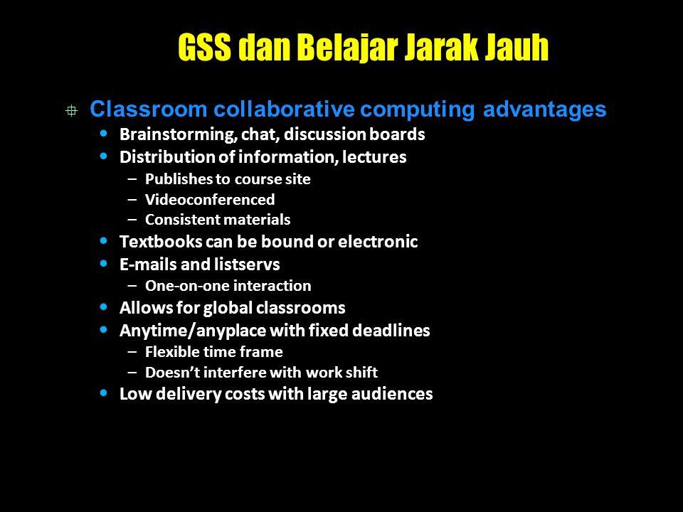 GSS dan Belajar Jarak Jauh  Classroom collaborative computing advantages Brainstorming, chat, discussion boards Distribution of information, lectures