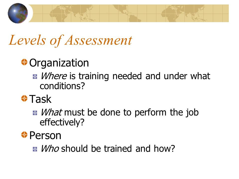 Levels of Assessment Organization Where is training needed and under what conditions.
