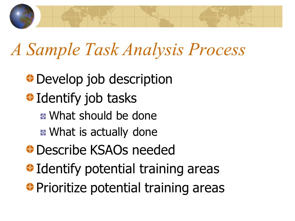 A Sample Task Analysis Process Develop job description Identify job tasks What should be done What is actually done Describe KSAOs needed Identify potential training areas Prioritize potential training areas