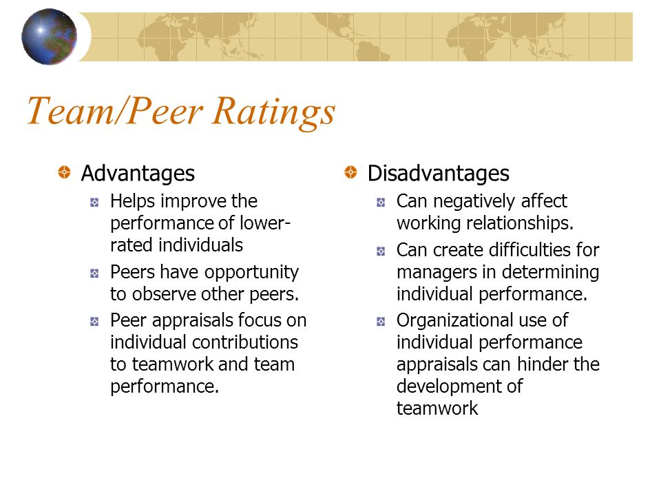 Team/Peer Ratings Advantages Helps improve the performance of lower- rated individuals Peers have opportunity to observe other peers.