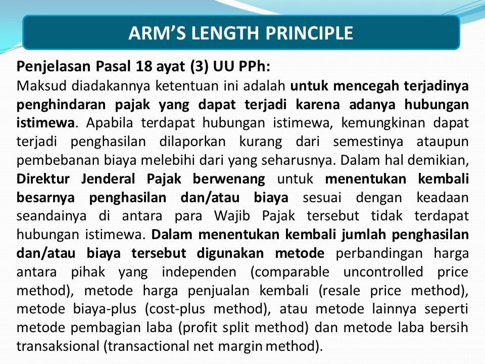 Penjelasan Pasal 18 ayat (3) UU PPh: Maksud diadakannya ketentuan ini adalah untuk mencegah terjadinya penghindaran pajak yang dapat terjadi karena ad