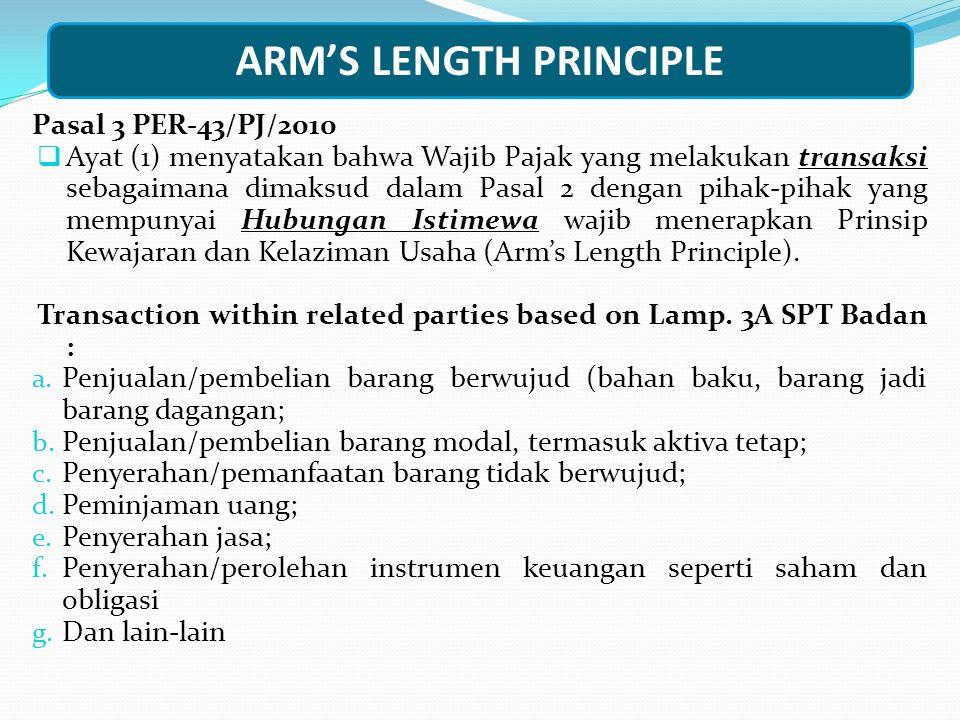 ARM'S LENGTH PRINCIPLE Pasal 3 PER-43/PJ/2010  Ayat (1) menyatakan bahwa Wajib Pajak yang melakukan transaksi sebagaimana dimaksud dalam Pasal 2 deng