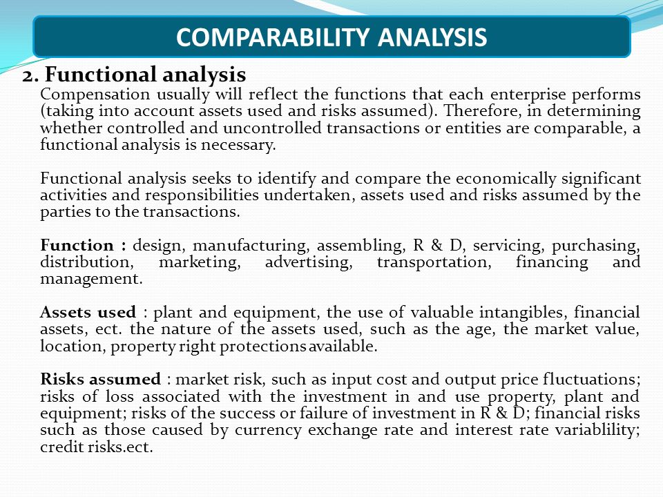 COMPARABILITY ANALYSIS 2.