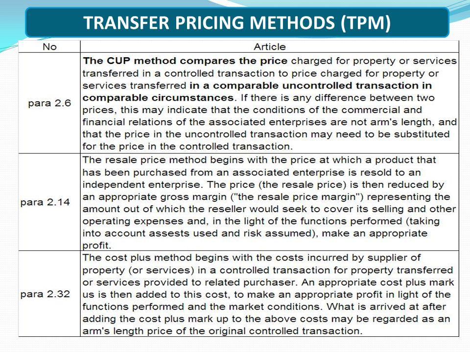 TRANSFER PRICING METHODS (TPM)