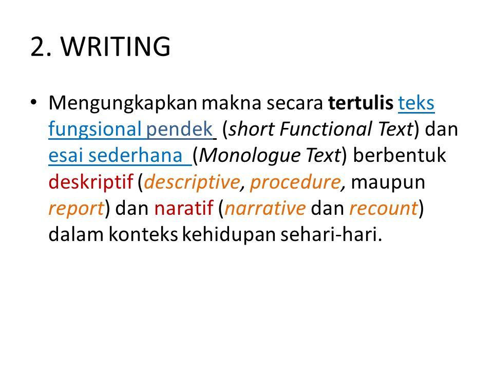 2. WRITING Mengungkapkan makna secara tertulis teks fungsional pendek (short Functional Text) dan esai sederhana (Monologue Text) berbentuk deskriptif