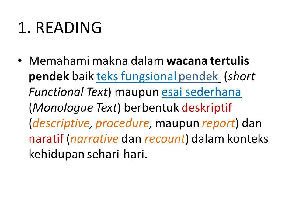 1. READING Memahami makna dalam wacana tertulis pendek baik teks fungsional pendek (short Functional Text) maupun esai sederhana (Monologue Text) berb