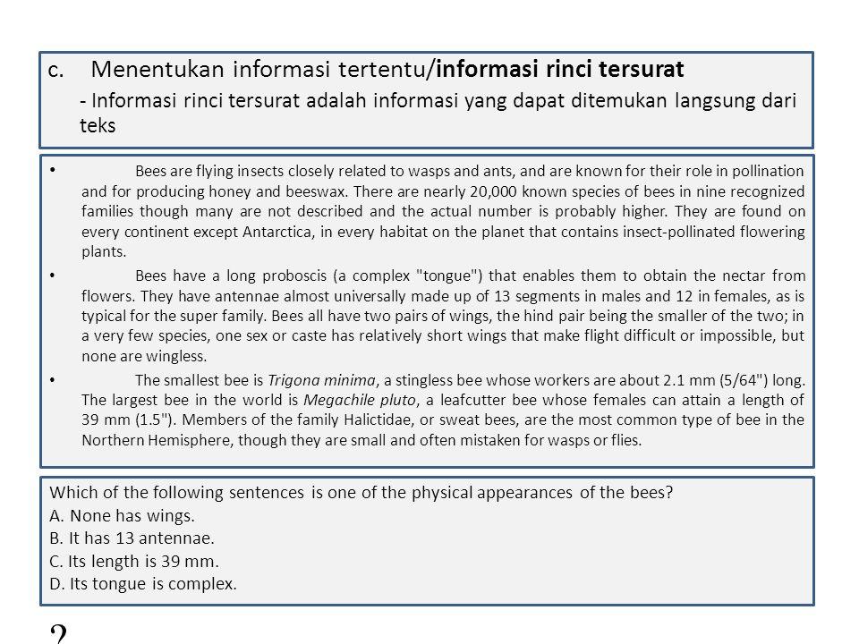 d.Menentukan informasi tertentu/informasi rinci tersirat.