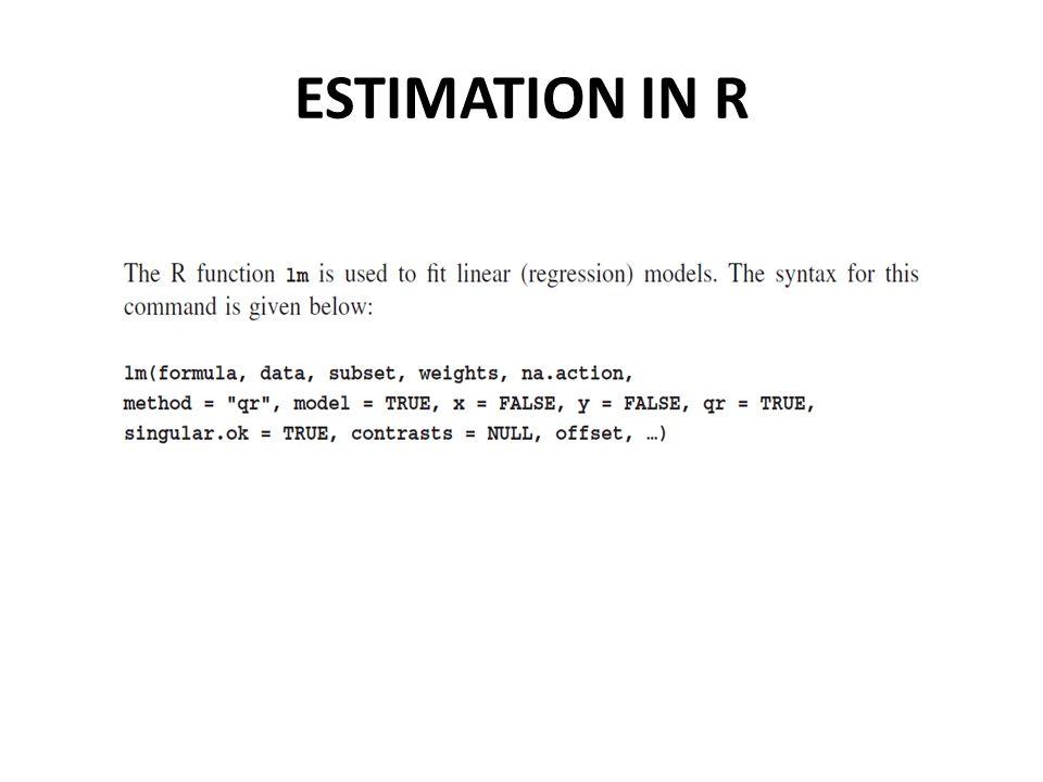 ESTIMATION IN R