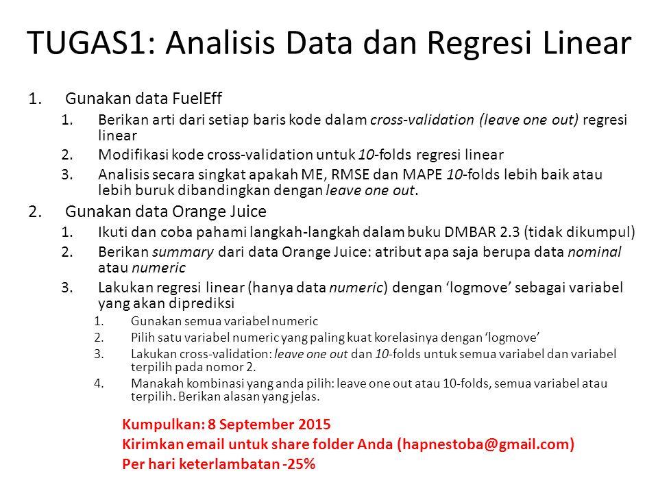 TUGAS1: Analisis Data dan Regresi Linear 1.Gunakan data FuelEff 1.Berikan arti dari setiap baris kode dalam cross-validation (leave one out) regresi linear 2.Modifikasi kode cross-validation untuk 10-folds regresi linear 3.Analisis secara singkat apakah ME, RMSE dan MAPE 10-folds lebih baik atau lebih buruk dibandingkan dengan leave one out.