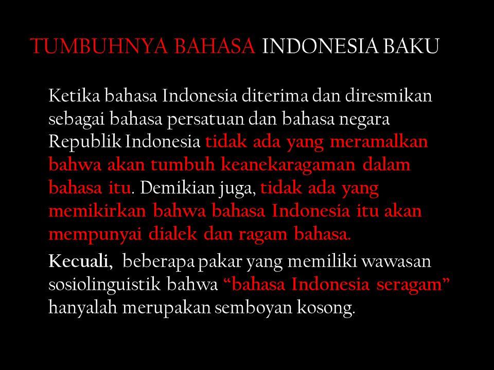 TUMBUHNYA BAHASA INDONESIA BAKU Ketika bahasa Indonesia diterima dan diresmikan sebagai bahasa persatuan dan bahasa negara Republik Indonesia tidak ada yang meramalkan bahwa akan tumbuh keanekaragaman dalam bahasa itu.