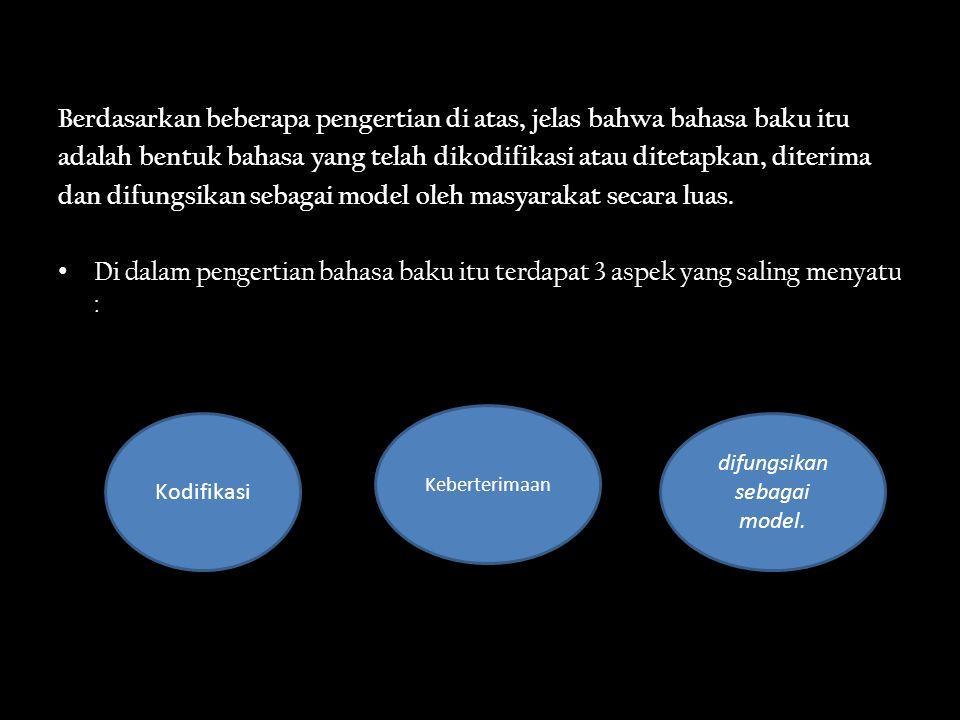 Kodifikasi Kodifikasi diartikan sebagai hal memberlakukan suatu kode atau aturan kebahasaan untuk dijadikan norma di dalam berbahasa (Alwasilah, 1985 :121) Masalah kodifikasi berkait dengan masalah ketentuan atau ketetapan norma kebahasaan.