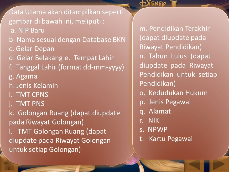 Data Utama akan ditampilkan seperti gambar di bawah ini, meliputi : a. NIP Baru b. Nama sesuai dengan Database BKN c. Gelar Depan d. Gelar Belakang e.