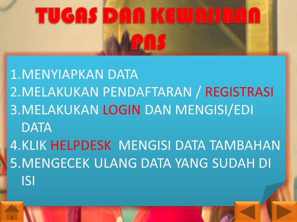 1.MENYIAPKAN DATA 2.MELAKUKAN PENDAFTARAN / REGISTRASI 3.MELAKUKAN LOGIN DAN MENGISI/EDI DATA 4.KLIK HELPDESK MENGISI DATA TAMBAHAN 5.MENGECEK ULANG D