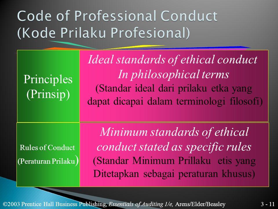 3 - 10 ©2003 Prentice Hall Business Publishing, Essentials of Auditing 1/e, Arens/Elder/Beasley Masyarakat telah memberi arti khusus Pada istilah prof