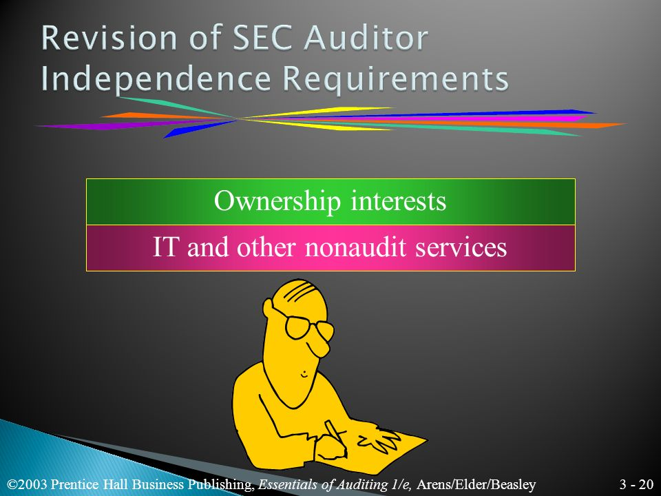 3 - 19 ©2003 Prentice Hall Business Publishing, Essentials of Auditing 1/e, Arens/Elder/Beasley Independence means taking an unbiased viewpoint in performing audit tests.