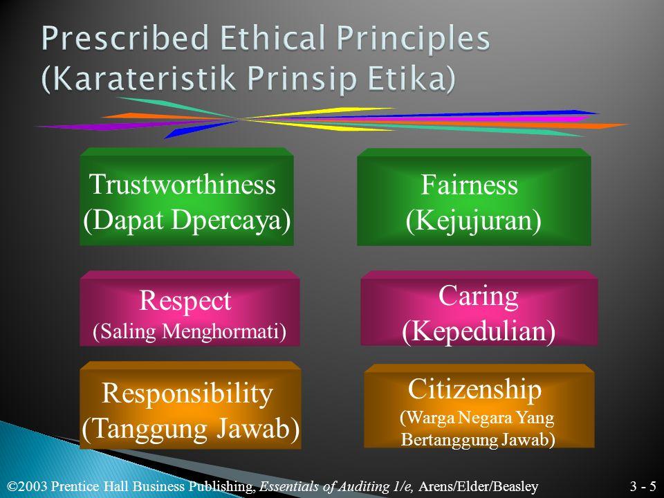 3 - 5 ©2003 Prentice Hall Business Publishing, Essentials of Auditing 1/e, Arens/Elder/Beasley Trustworthiness (Dapat Dpercaya) Respect (Saling Menghormati) Fairness (Kejujuran) Responsibility (Tanggung Jawab) Caring (Kepedulian) Citizenship (Warga Negara Yang Bertanggung Jawab)