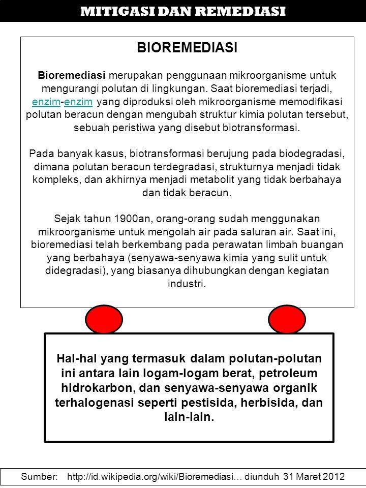 MITIGASI DAN REMEDIASI BIOREMEDIASI Bioremediasi merupakan penggunaan mikroorganisme untuk mengurangi polutan di lingkungan. Saat bioremediasi terjadi