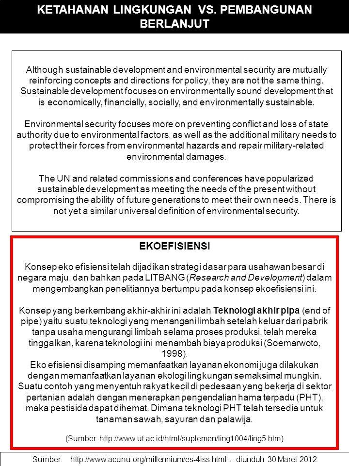KETAHANAN LINGKUNGAN VS. PEMBANGUNAN BERLANJUT Although sustainable development and environmental security are mutually reinforcing concepts and direc