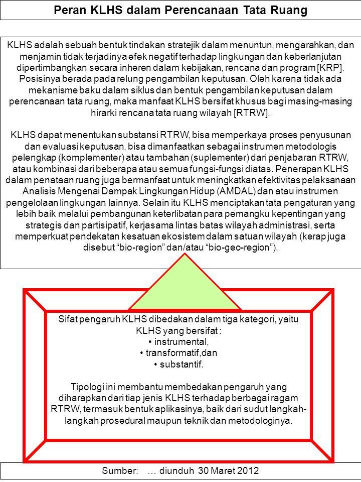 Peran KLHS dalam Perencanaan Tata Ruang KLHS adalah sebuah bentuk tindakan stratejik dalam menuntun, mengarahkan, dan menjamin tidak terjadinya efek n