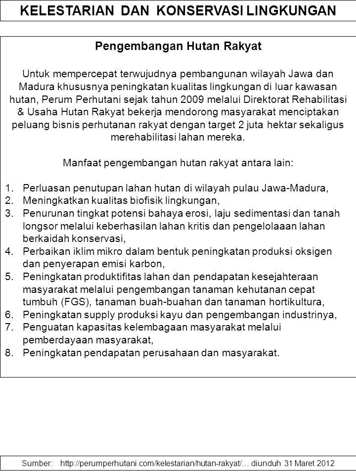 Pengembangan Hutan Rakyat Untuk mempercepat terwujudnya pembangunan wilayah Jawa dan Madura khususnya peningkatan kualitas lingkungan di luar kawasan