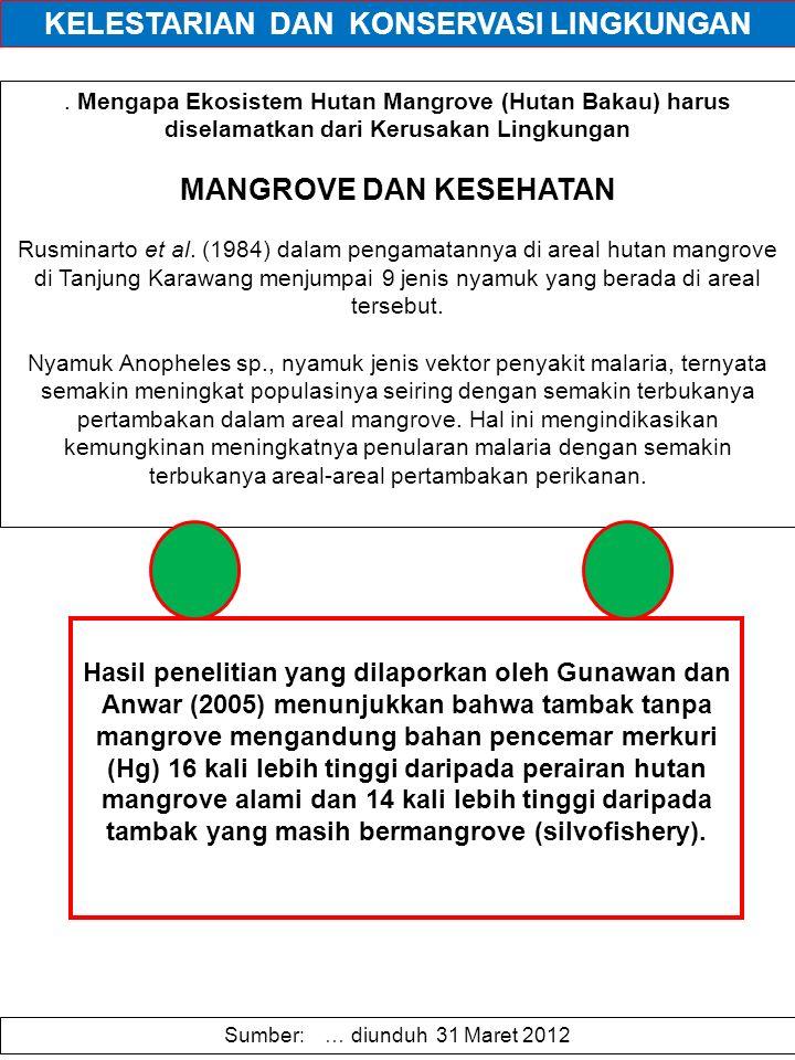 . Mengapa Ekosistem Hutan Mangrove (Hutan Bakau) harus diselamatkan dari Kerusakan Lingkungan MANGROVE DAN KESEHATAN Rusminarto et al. (1984) dalam pe