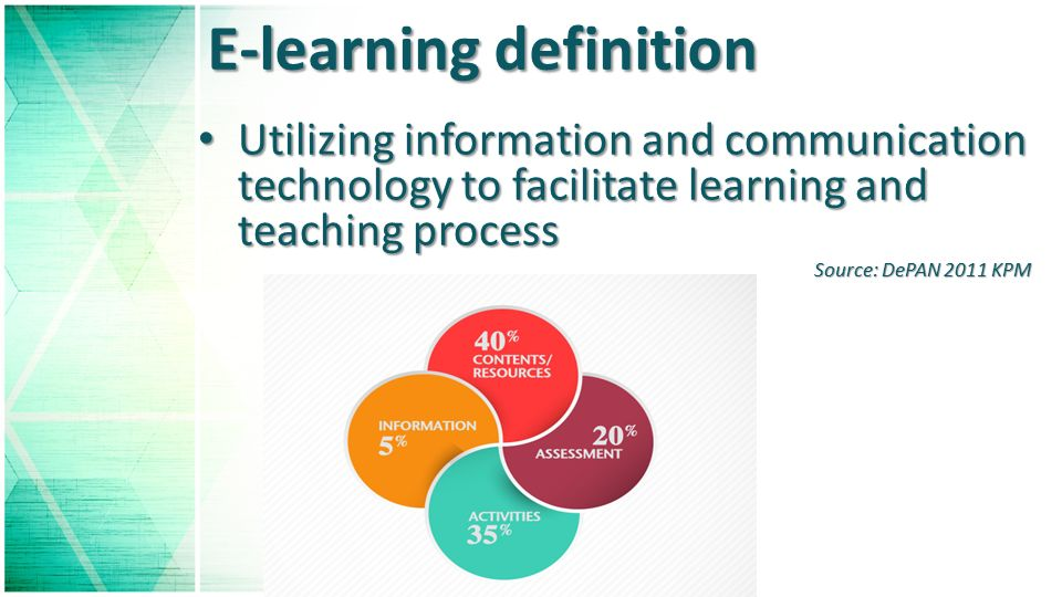 E-learning definition Utilizing information and communication technology to facilitate learning and teaching process Utilizing information and communication technology to facilitate learning and teaching process Source: DePAN 2011 KPM