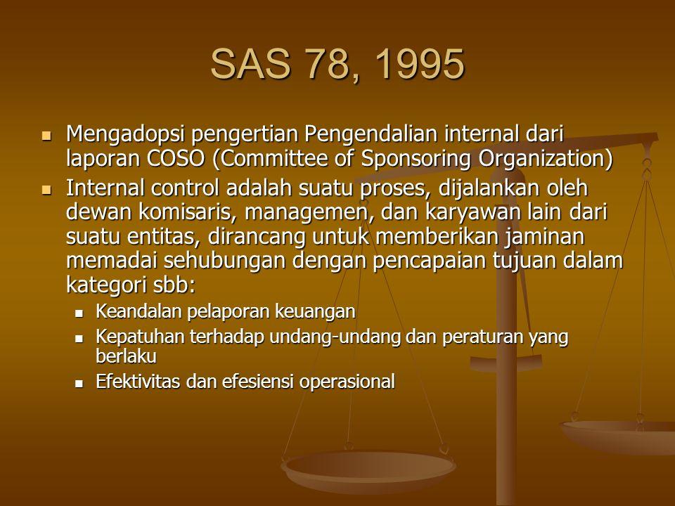 SAS 78, 1995 Mengadopsi pengertian Pengendalian internal dari laporan COSO (Committee of Sponsoring Organization) Mengadopsi pengertian Pengendalian i
