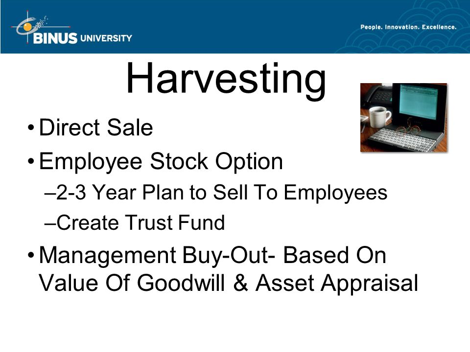 Harvesting Direct Sale Employee Stock Option –2-3 Year Plan to Sell To Employees –Create Trust Fund Management Buy-Out- Based On Value Of Goodwill & Asset Appraisal