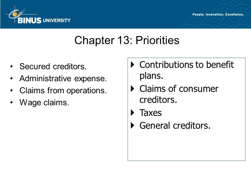 Chapter 13: Priorities Secured creditors. Administrative expense. Claims from operations. Wage claims.  Contributions to benefit plans.  Claims of c