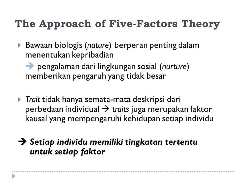 The Approach of Five-Factors Theory  Bawaan biologis (nature) berperan penting dalam menentukan kepribadian  pengalaman dari lingkungan sosial (nurture) memberikan pengaruh yang tidak besar  Trait tidak hanya semata-mata deskripsi dari perbedaan individual  traits juga merupakan faktor kausal yang mempengaruhi kehidupan setiap individu  Setiap individu memiliki tingkatan tertentu untuk setiap faktor