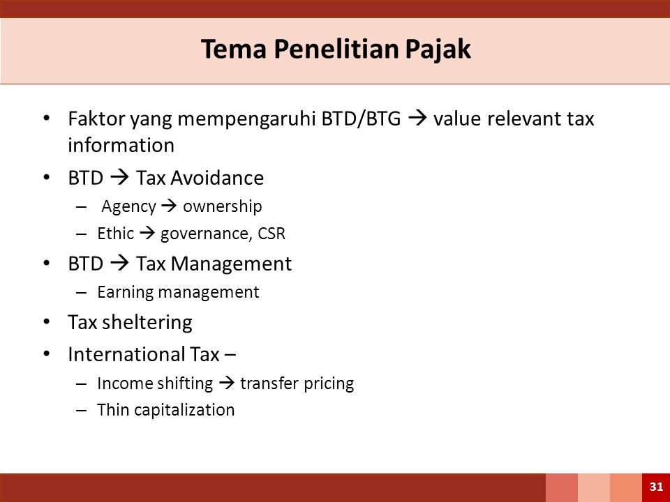 Tema Penelitian Pajak Faktor yang mempengaruhi BTD/BTG  value relevant tax information BTD  Tax Avoidance – Agency  ownership – Ethic  governance,