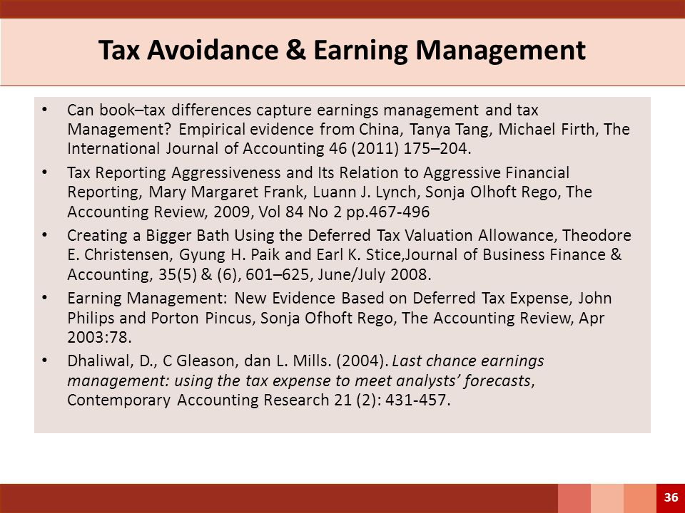 Tax Avoidance & Earning Management Can book–tax differences capture earnings management and tax Management? Empirical evidence from China, Tanya Tang,