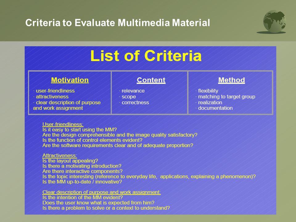 Criteria to Evaluate Multimedia Material