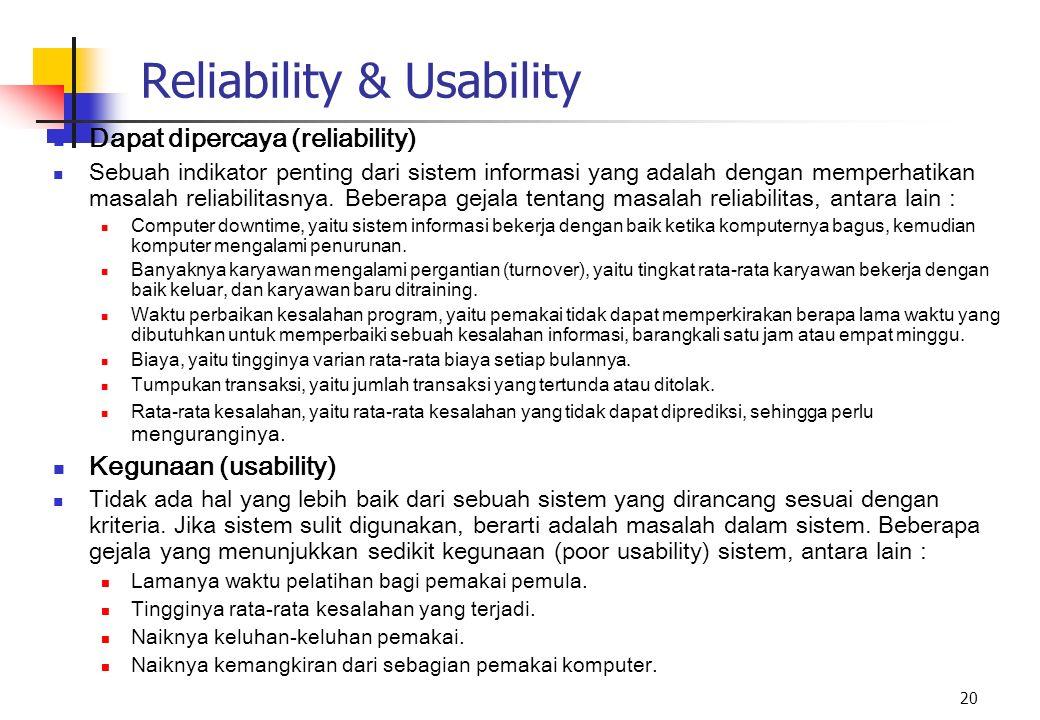 20 Reliability & Usability Dapat dipercaya (reliability) Sebuah indikator penting dari sistem informasi yang adalah dengan memperhatikan masalah relia