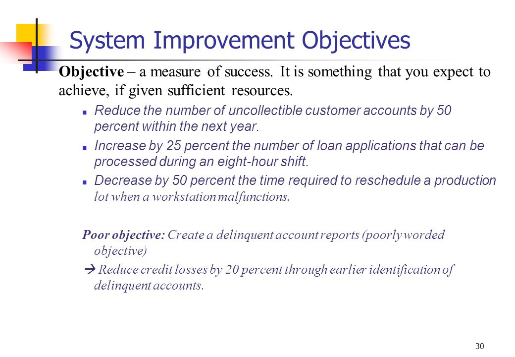 30 System Improvement Objectives Objective – a measure of success. It is something that you expect to achieve, if given sufficient resources. Reduce t